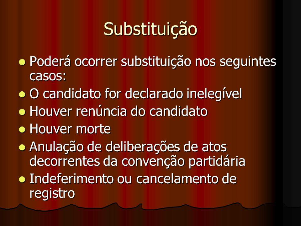Substituição Poderá ocorrer substituição nos seguintes casos: