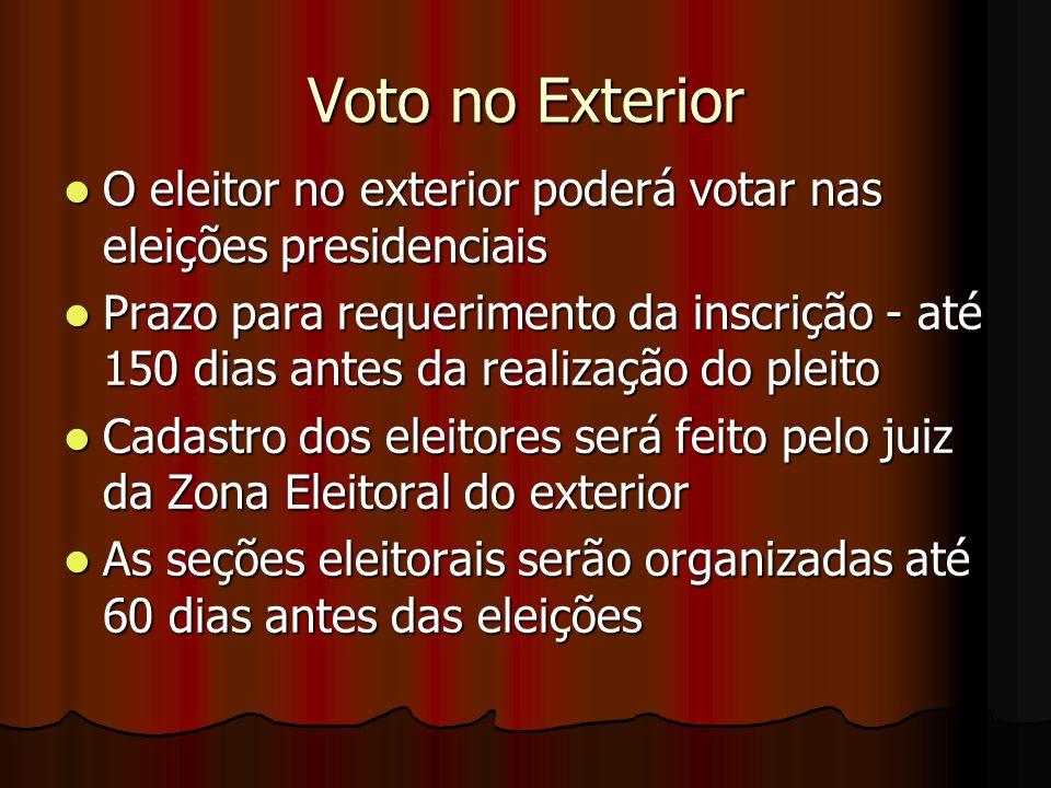 Voto no Exterior O eleitor no exterior poderá votar nas eleições presidenciais.