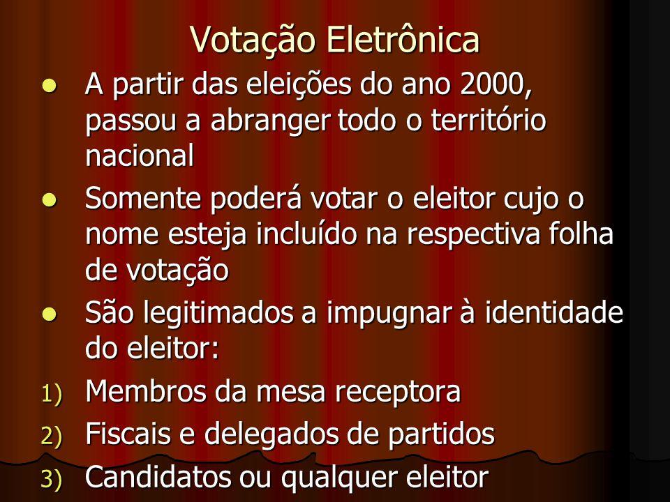Votação Eletrônica A partir das eleições do ano 2000, passou a abranger todo o território nacional.