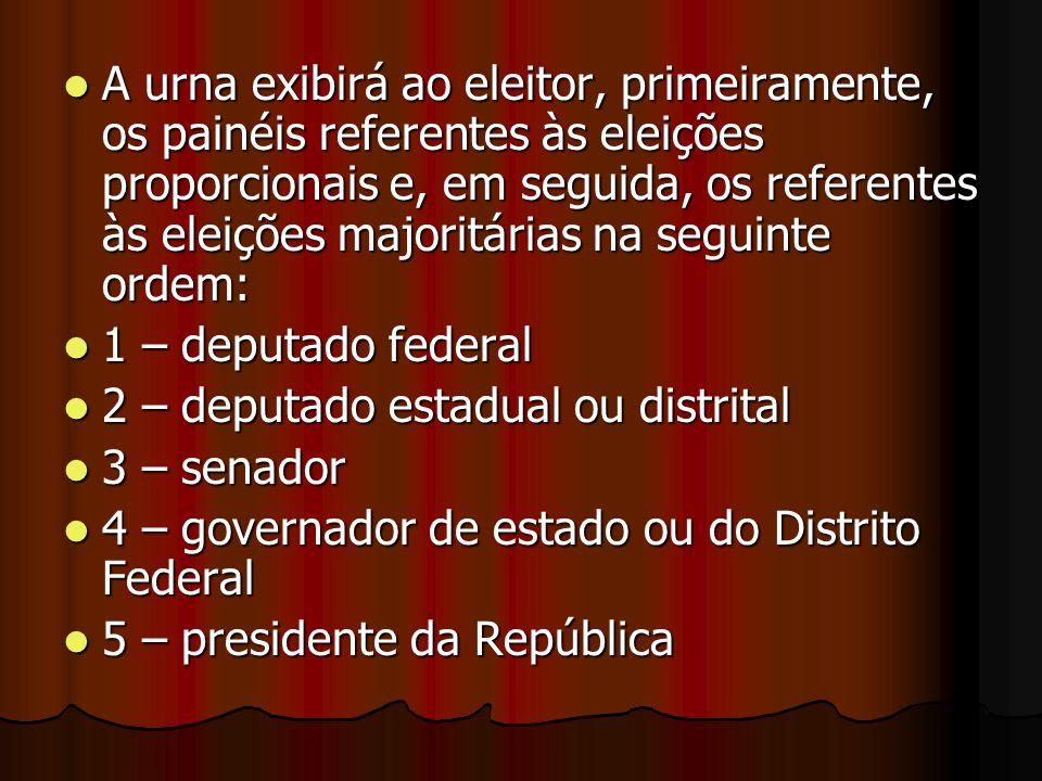 A urna exibirá ao eleitor, primeiramente, os painéis referentes às eleições proporcionais e, em seguida, os referentes às eleições majoritárias na seguinte ordem: