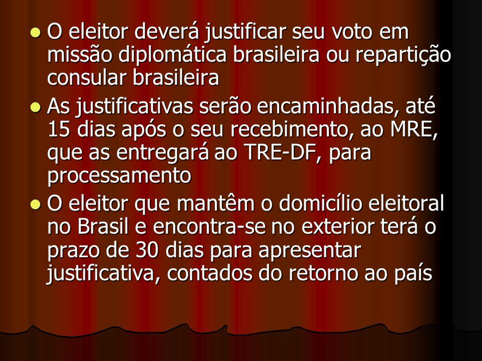 O eleitor deverá justificar seu voto em missão diplomática brasileira ou repartição consular brasileira