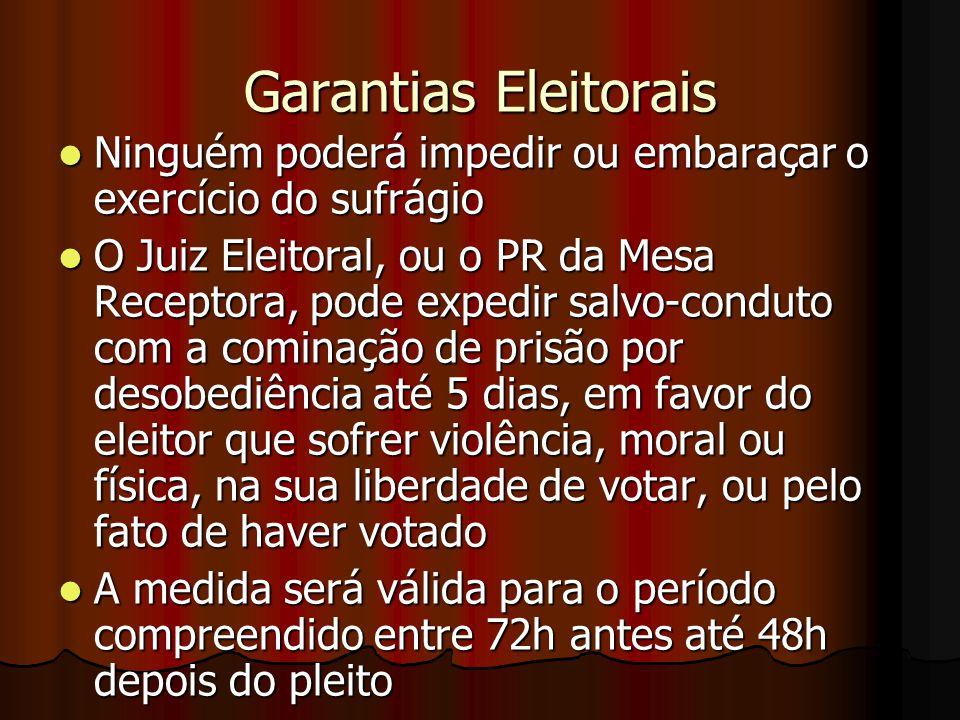 Garantias Eleitorais Ninguém poderá impedir ou embaraçar o exercício do sufrágio.