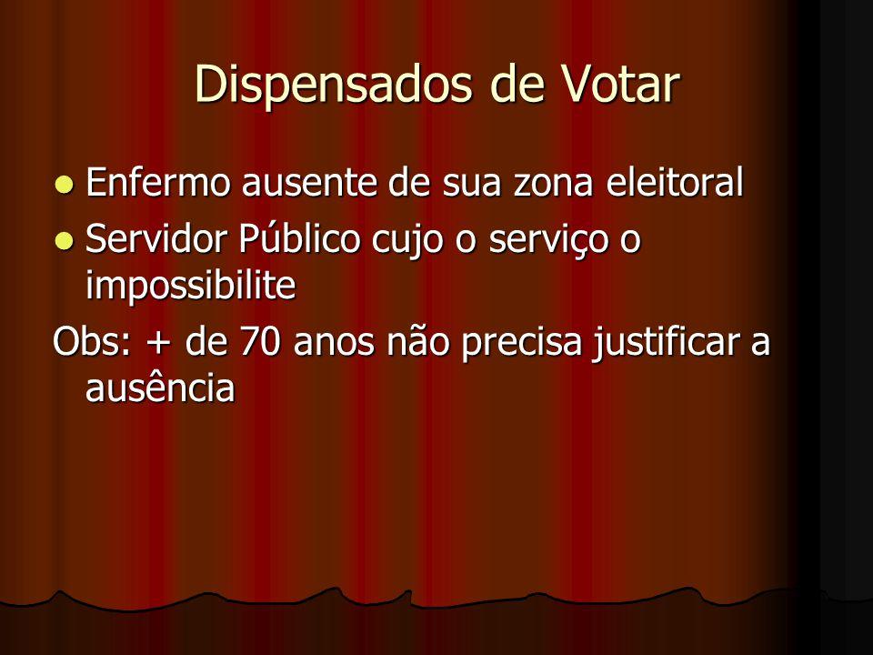 Dispensados de Votar Enfermo ausente de sua zona eleitoral
