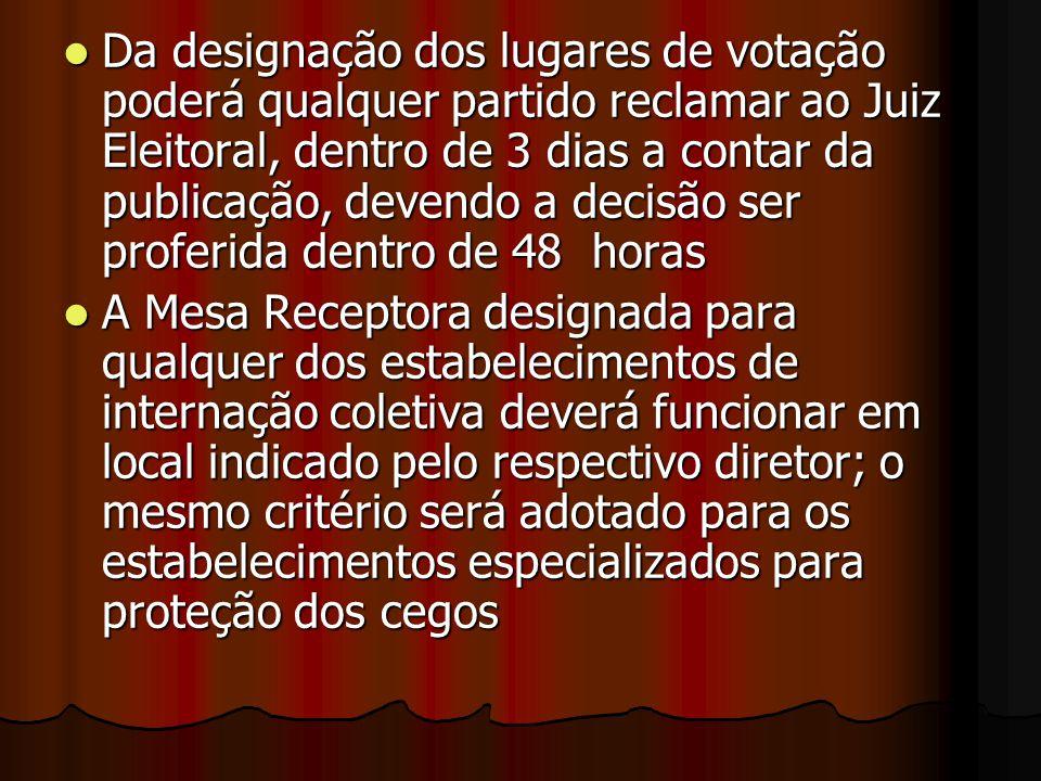 Da designação dos lugares de votação poderá qualquer partido reclamar ao Juiz Eleitoral, dentro de 3 dias a contar da publicação, devendo a decisão ser proferida dentro de 48 horas