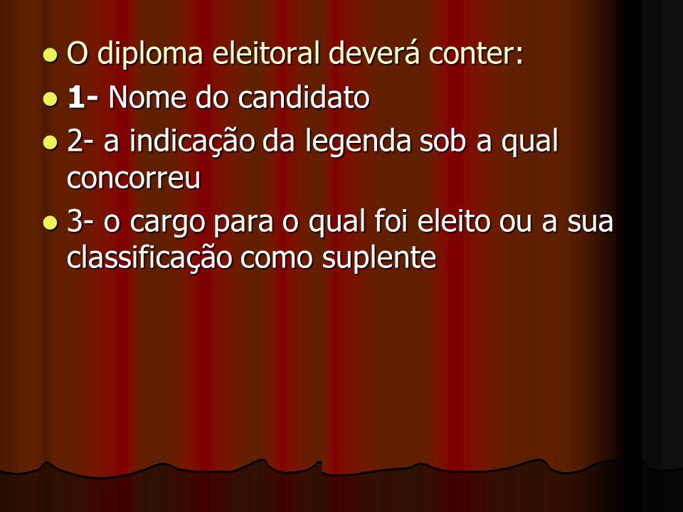 O diploma eleitoral deverá conter: