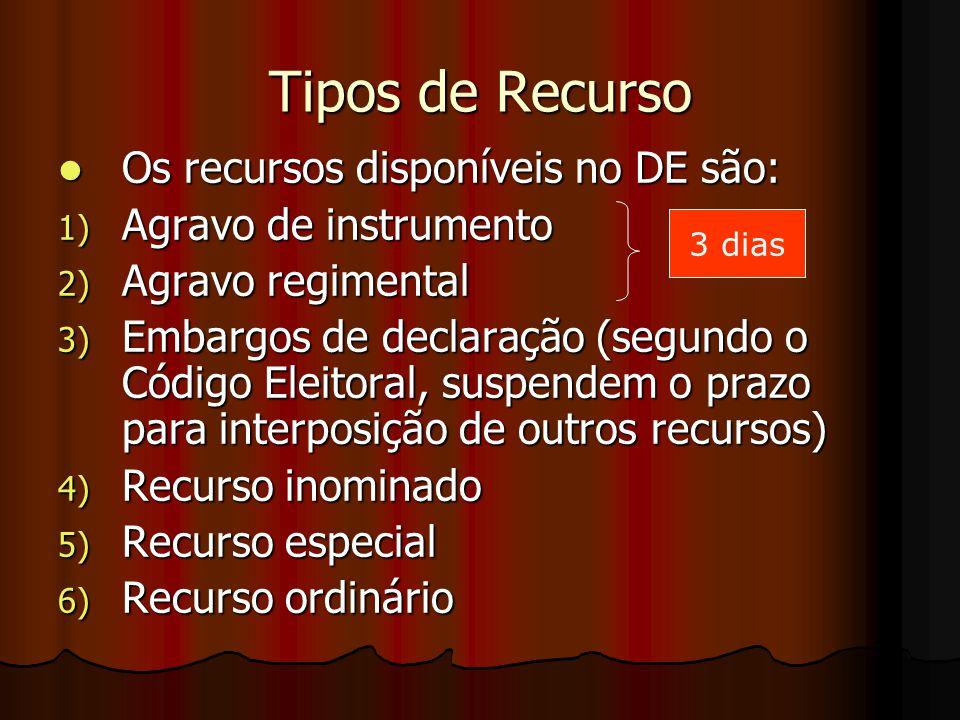 Tipos de Recurso Os recursos disponíveis no DE são: