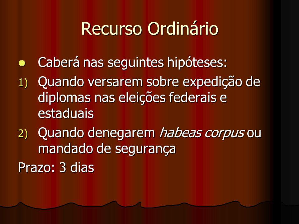 Recurso Ordinário Caberá nas seguintes hipóteses: