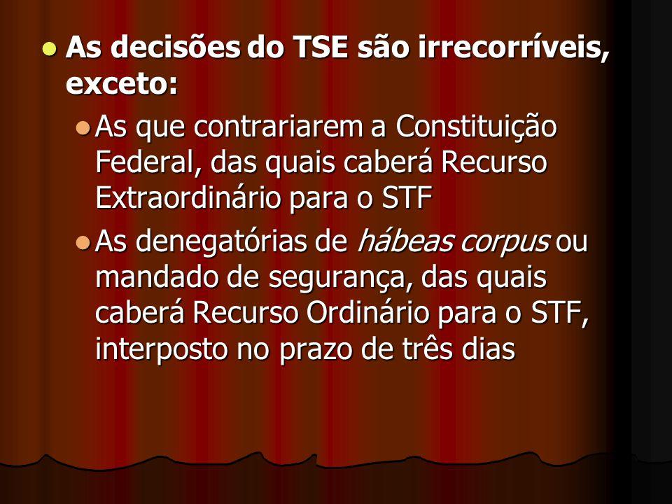 As decisões do TSE são irrecorríveis, exceto: