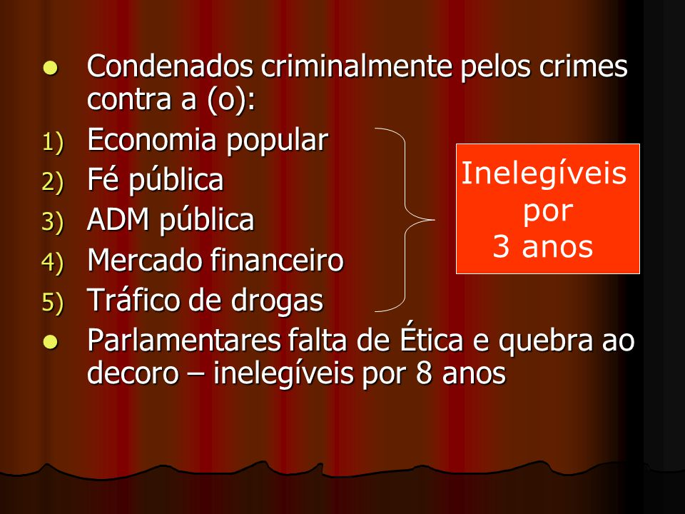 Condenados criminalmente pelos crimes contra a (o):