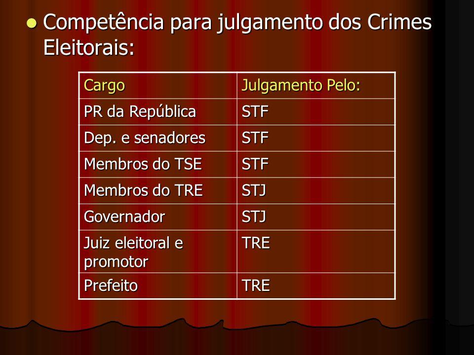 Competência para julgamento dos Crimes Eleitorais: