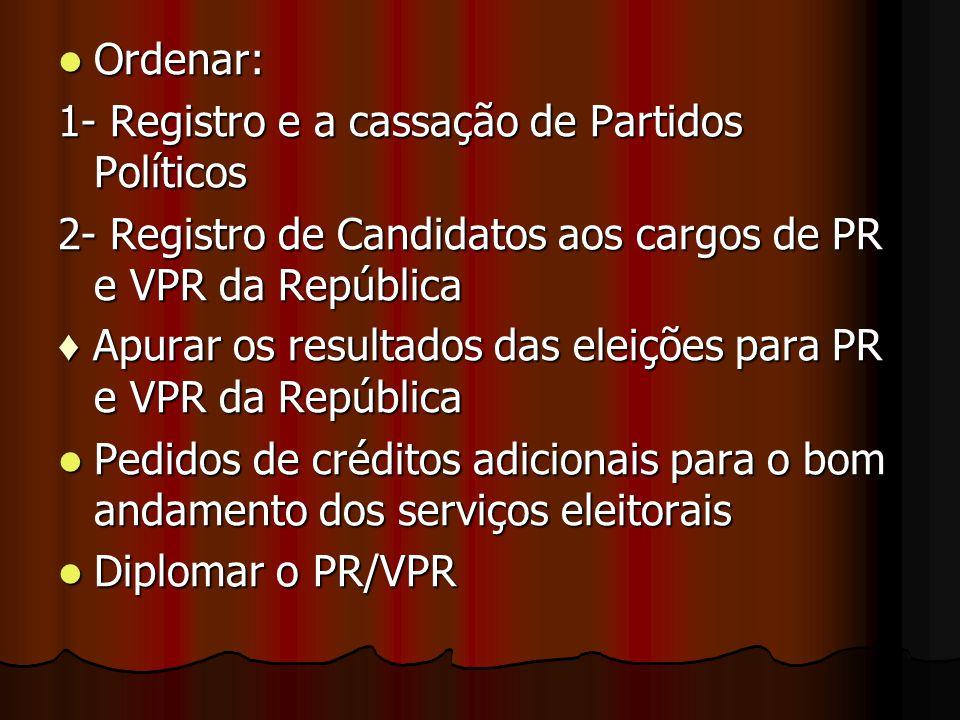 Ordenar: 1- Registro e a cassação de Partidos Políticos. 2- Registro de Candidatos aos cargos de PR e VPR da República.
