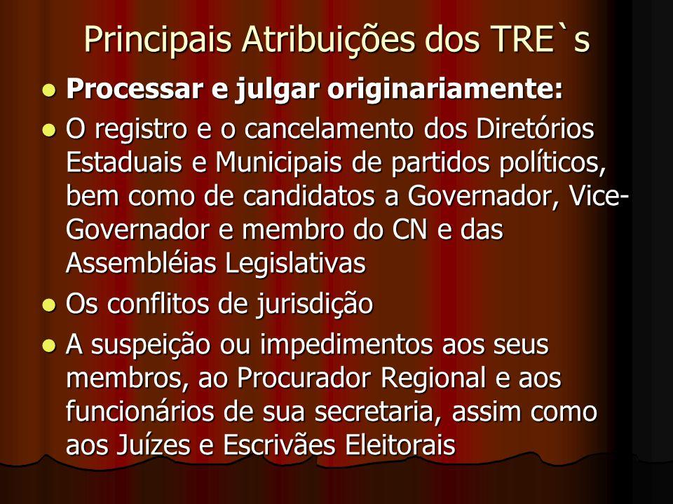 Principais Atribuições dos TRE`s
