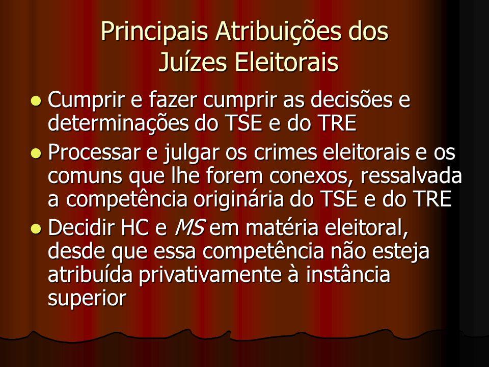 Principais Atribuições dos Juízes Eleitorais