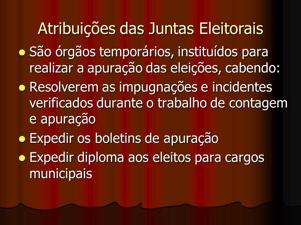 Atribuições das Juntas Eleitorais