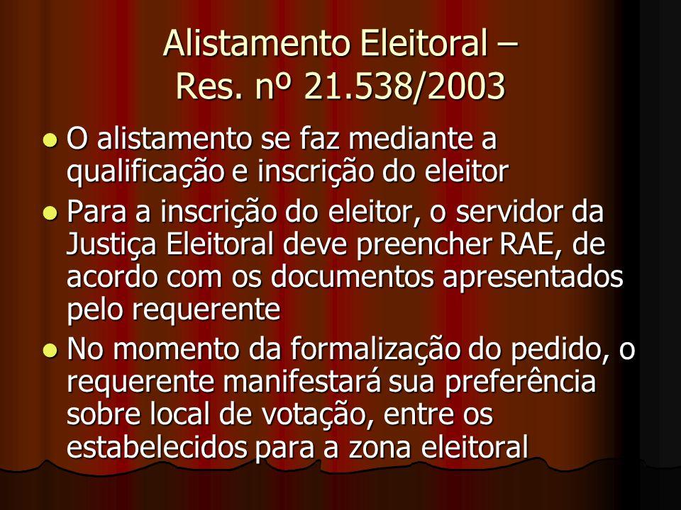 Alistamento Eleitoral – Res. nº 21.538/2003