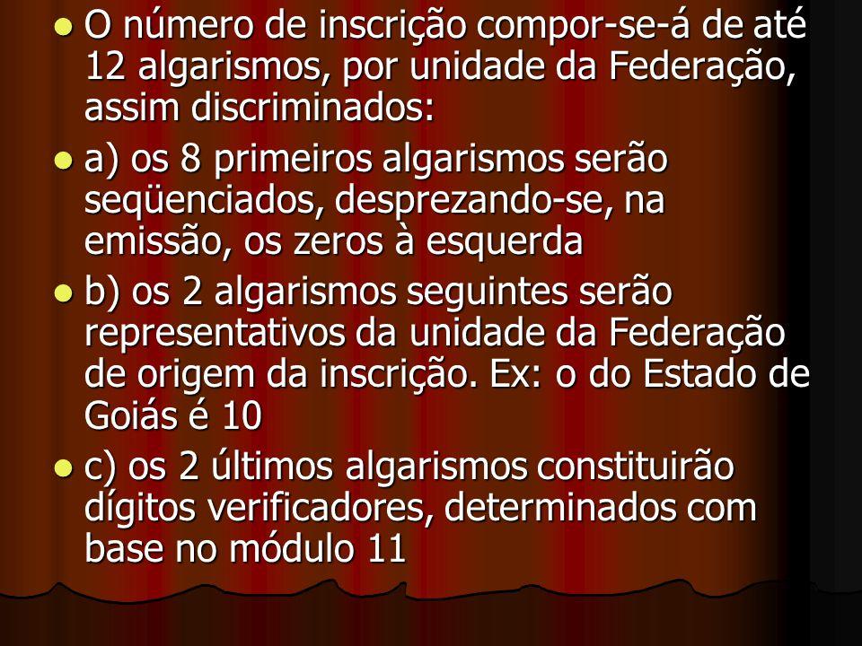 O número de inscrição compor-se-á de até 12 algarismos, por unidade da Federação, assim discriminados: