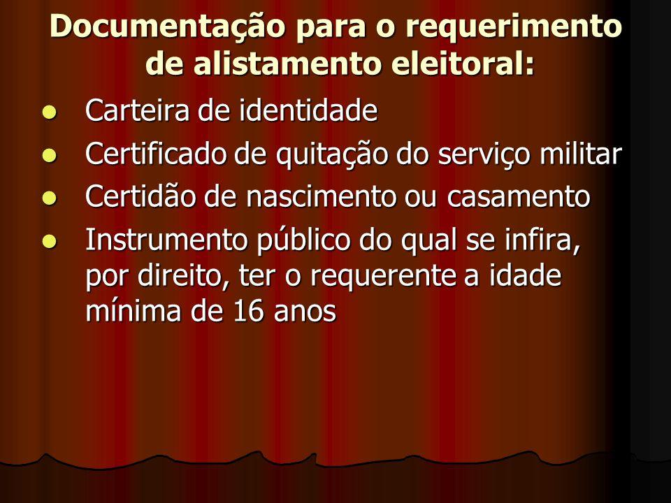 Documentação para o requerimento de alistamento eleitoral: