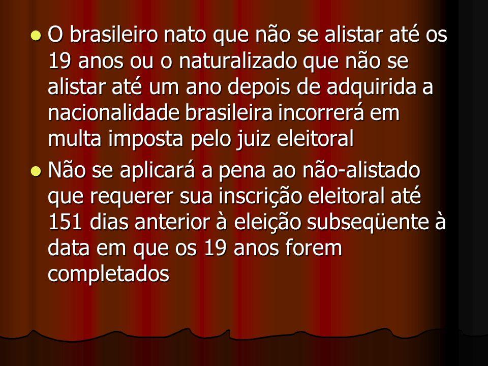 O brasileiro nato que não se alistar até os 19 anos ou o naturalizado que não se alistar até um ano depois de adquirida a nacionalidade brasileira incorrerá em multa imposta pelo juiz eleitoral