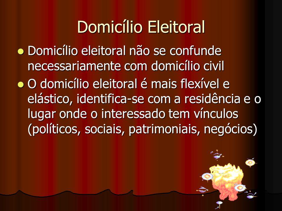 Domicílio Eleitoral Domicílio eleitoral não se confunde necessariamente com domicílio civil.