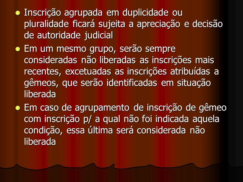 Inscrição agrupada em duplicidade ou pluralidade ficará sujeita a apreciação e decisão de autoridade judicial