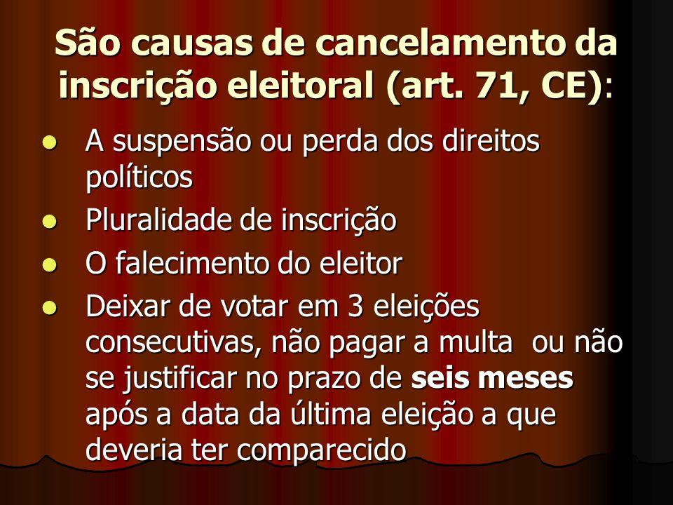 São causas de cancelamento da inscrição eleitoral (art. 71, CE):