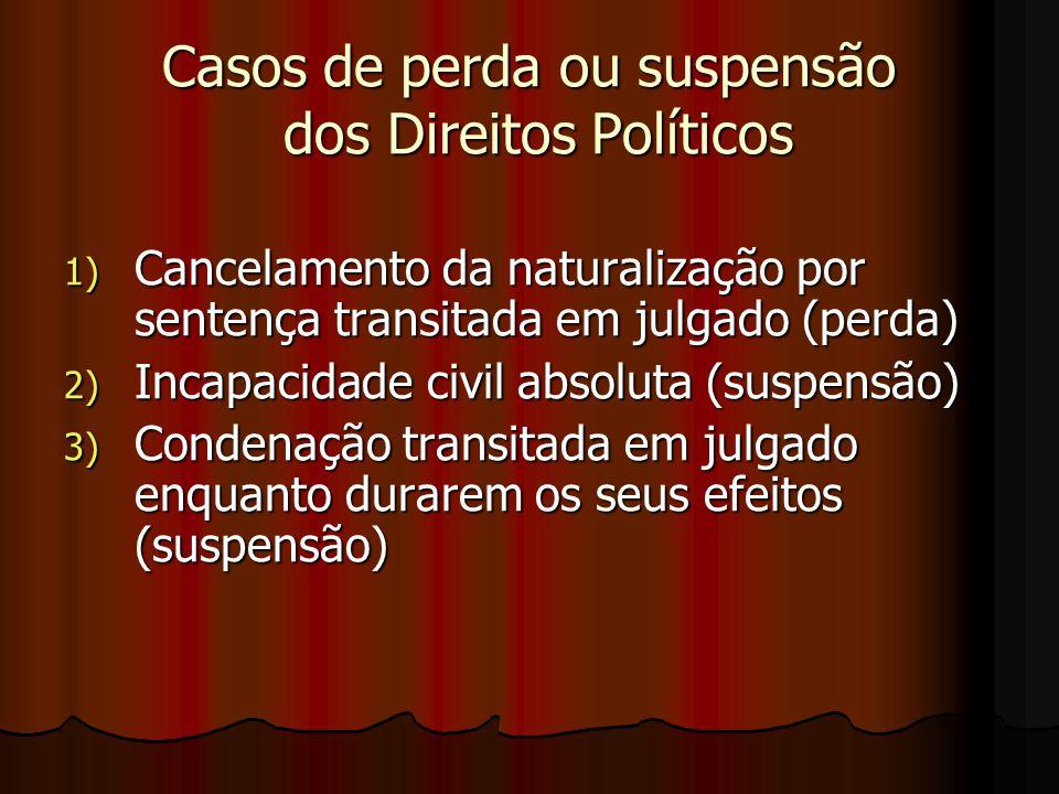 Casos de perda ou suspensão dos Direitos Políticos