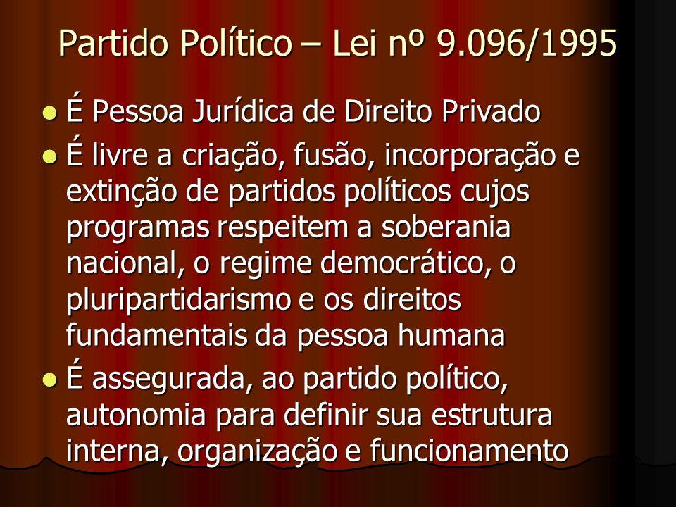 Partido Político – Lei nº 9.096/1995