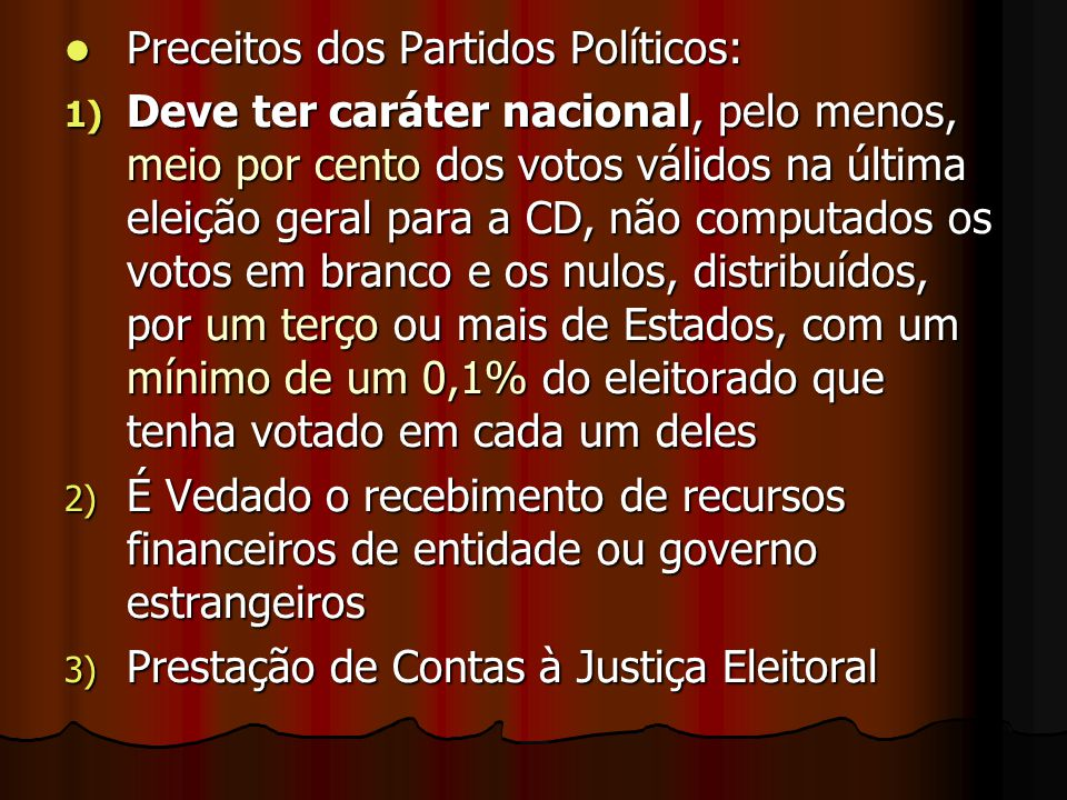 Preceitos dos Partidos Políticos: