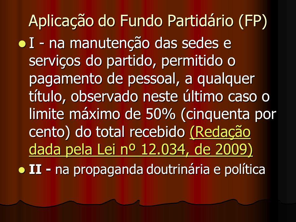 Aplicação do Fundo Partidário (FP)
