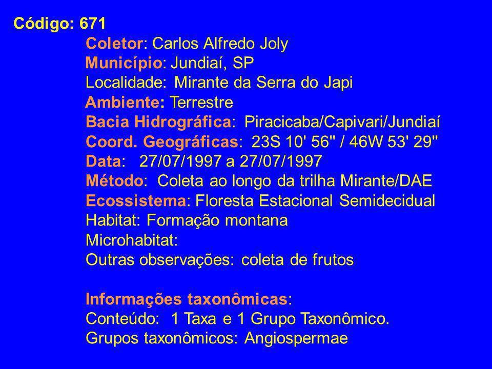Código: 671Coletor: Carlos Alfredo Joly. Município: Jundiaí, SP. Localidade: Mirante da Serra do Japi.