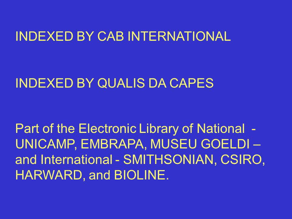 INDEXED BY CAB INTERNATIONAL