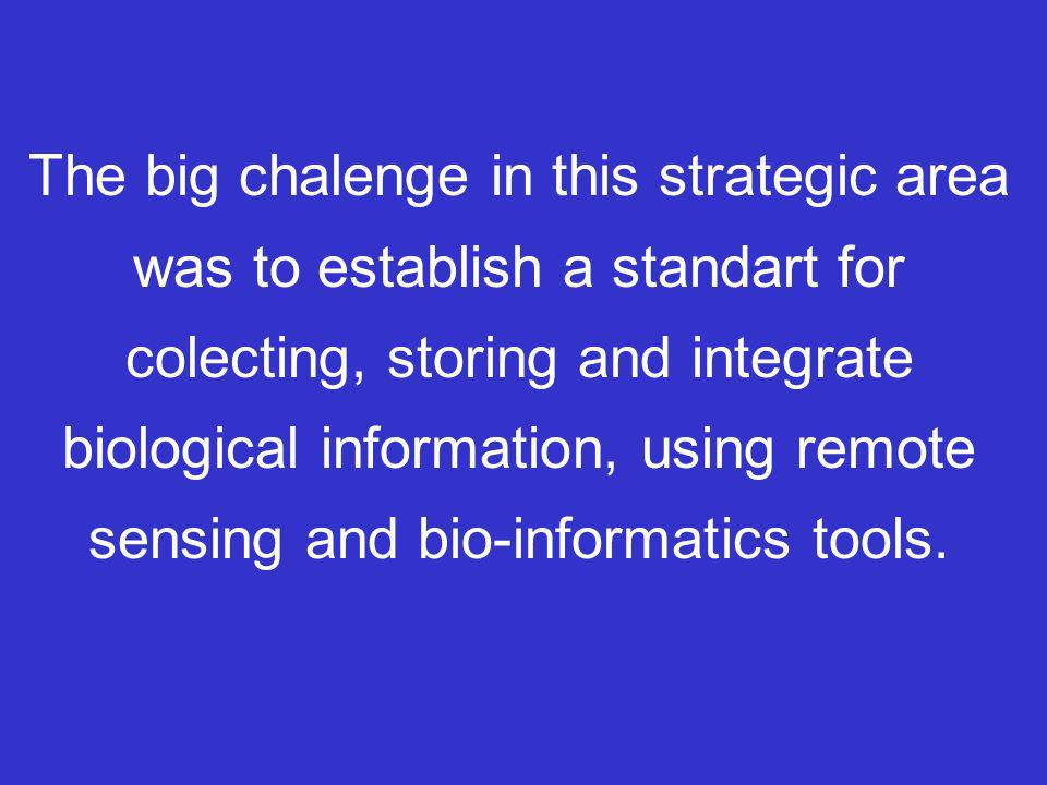 The big chalenge in this strategic area was to establish a standart for colecting, storing and integrate biological information, using remote sensing and bio-informatics tools.