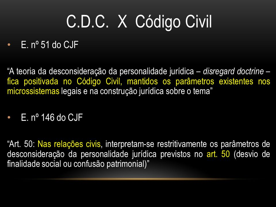 C.D.C. X Código Civil E. nº 51 do CJF E. nº 146 do CJF