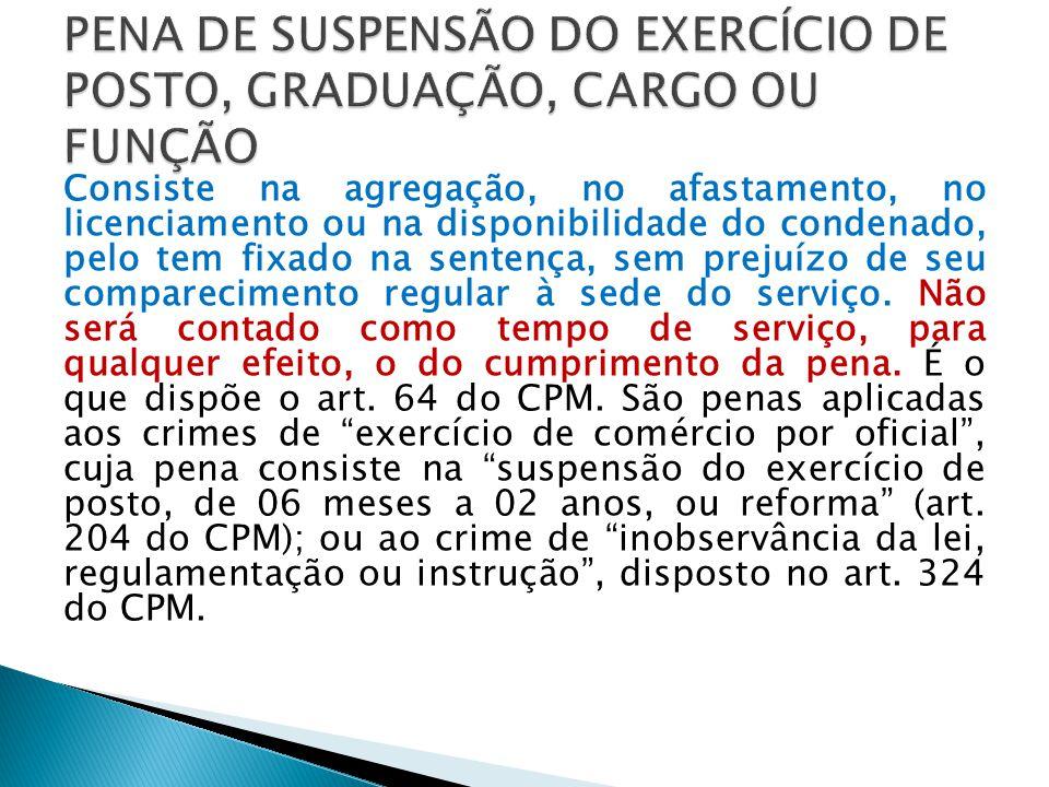PENA DE SUSPENSÃO DO EXERCÍCIO DE POSTO, GRADUAÇÃO, CARGO OU FUNÇÃO