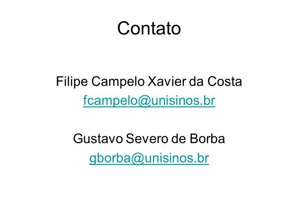 Contato Filipe Campelo Xavier da Costa fcampelo@unisinos.br
