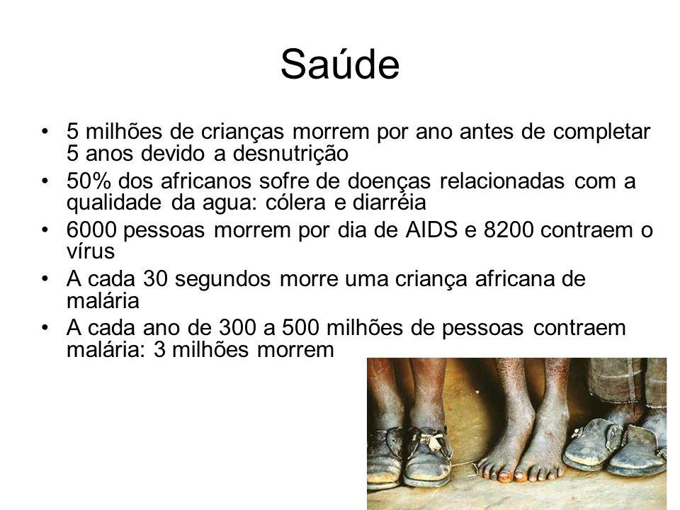 Saúde 5 milhões de crianças morrem por ano antes de completar 5 anos devido a desnutrição.