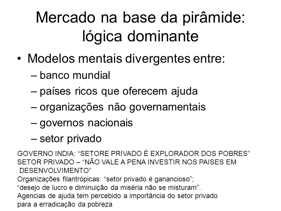 Mercado na base da pirâmide: lógica dominante