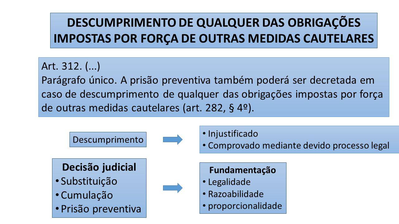 DESCUMPRIMENTO DE QUALQUER DAS OBRIGAÇÕES IMPOSTAS POR FORÇA DE OUTRAS MEDIDAS CAUTELARES