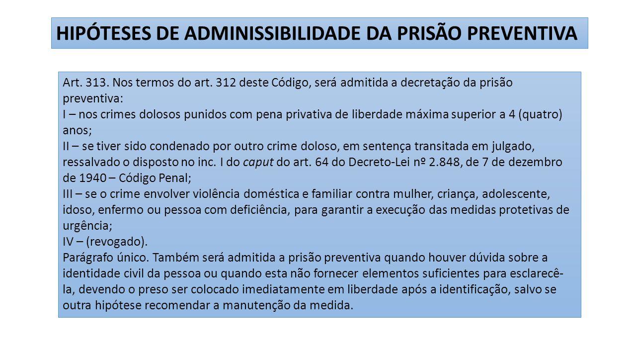 HIPÓTESES DE ADMINISSIBILIDADE DA PRISÃO PREVENTIVA