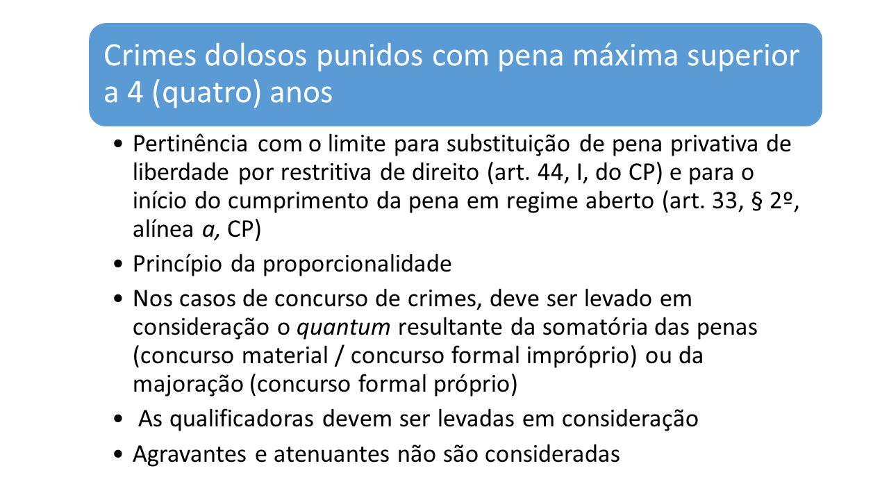 Crimes dolosos punidos com pena máxima superior a 4 (quatro) anos