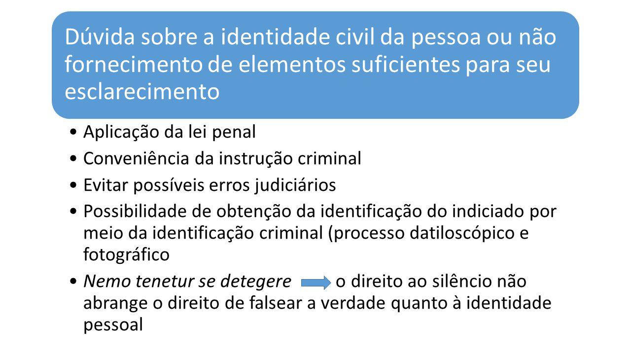 Dúvida sobre a identidade civil da pessoa ou não fornecimento de elementos suficientes para seu esclarecimento
