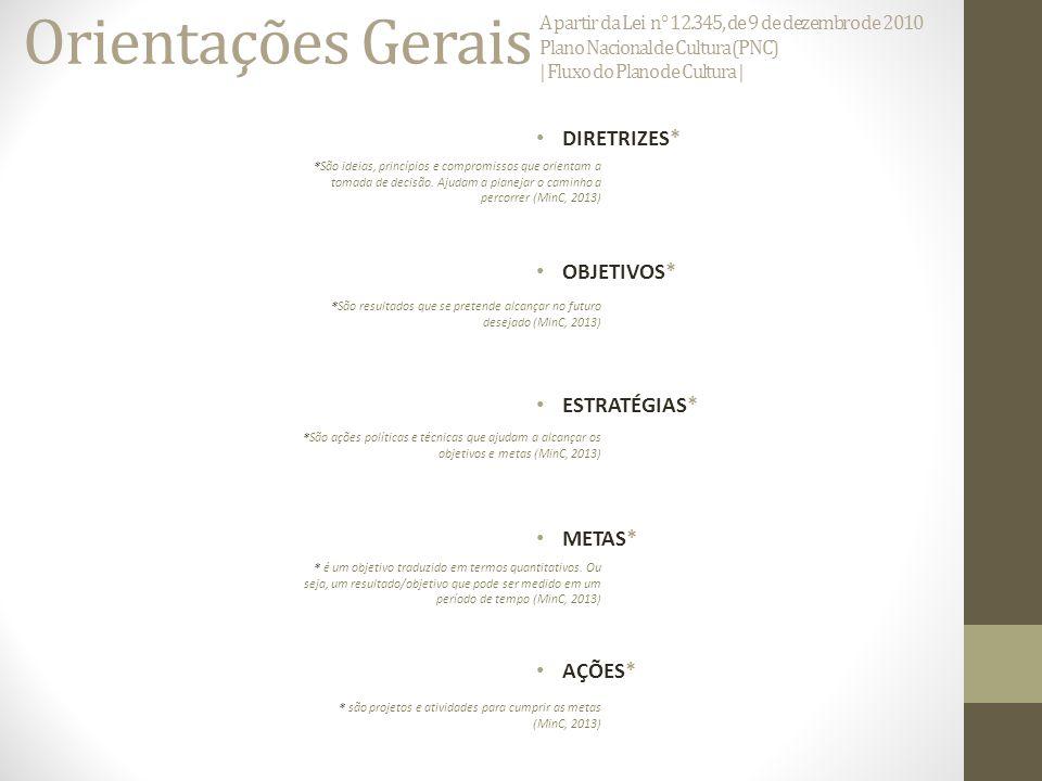Orientações Gerais DIRETRIZES* OBJETIVOS* ESTRATÉGIAS* METAS* AÇÕES*