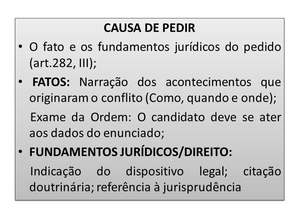 CAUSA DE PEDIR O fato e os fundamentos jurídicos do pedido (art.282, III);