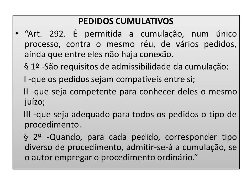PEDIDOS CUMULATIVOS