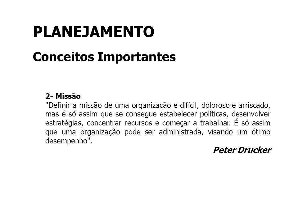 PLANEJAMENTO Conceitos Importantes Peter Drucker 2- Missão