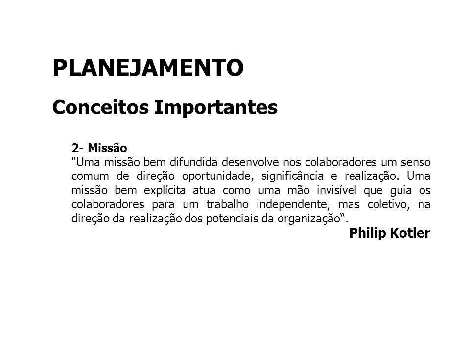 PLANEJAMENTO Conceitos Importantes Philip Kotler 2- Missão