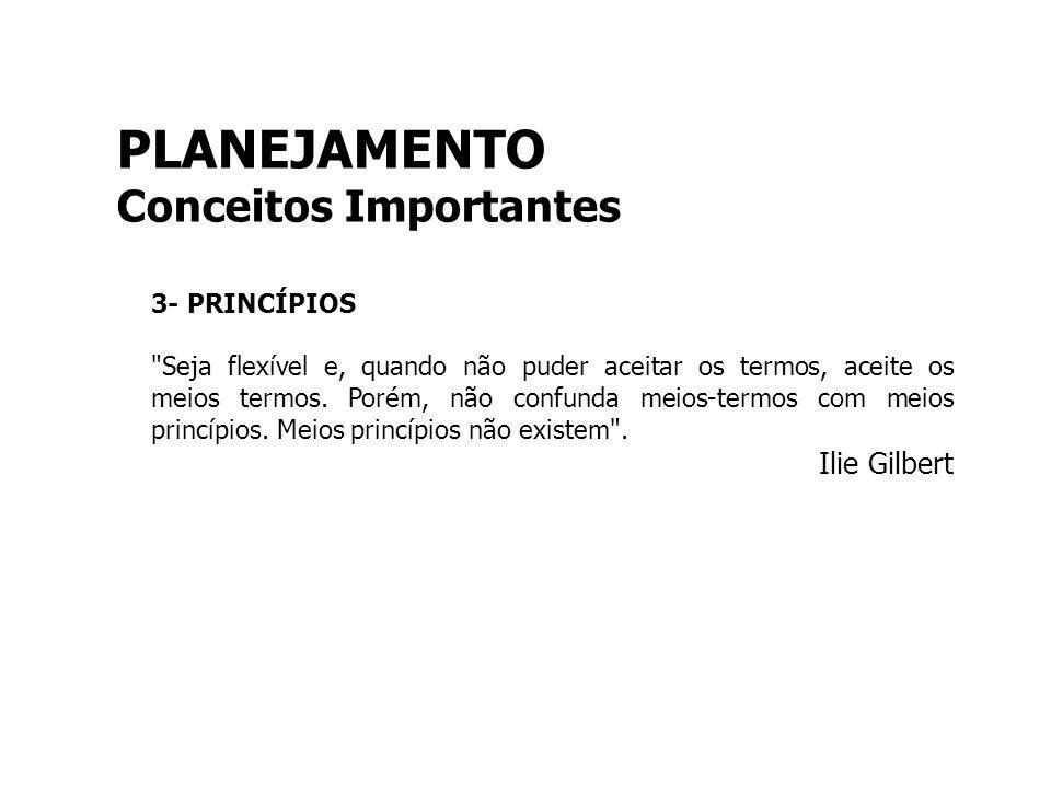 PLANEJAMENTO Conceitos Importantes Ilie Gilbert 3- PRINCÍPIOS