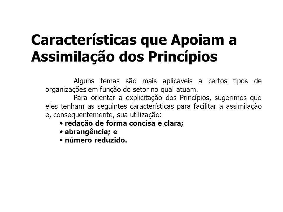 Características que Apoiam a Assimilação dos Princípios