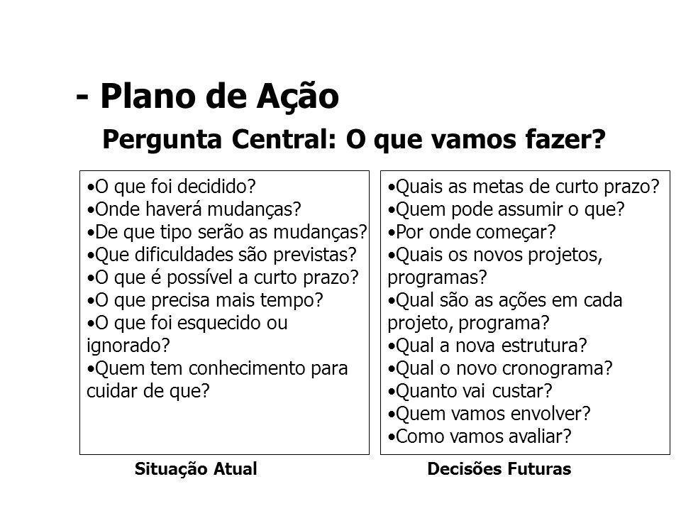 Pergunta Central: O que vamos fazer