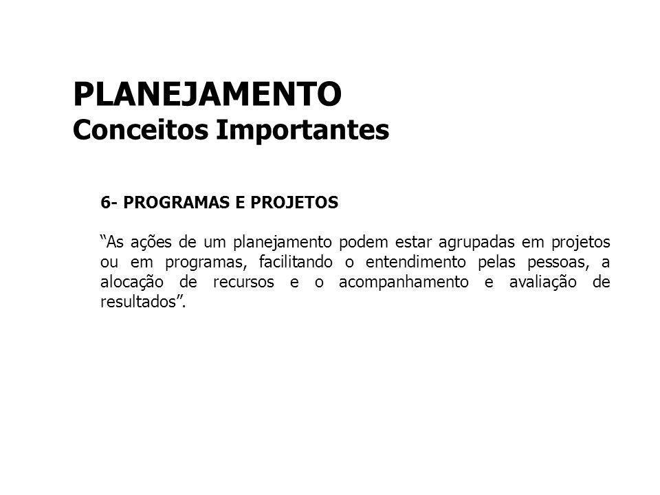 PLANEJAMENTO Conceitos Importantes 6- PROGRAMAS E PROJETOS